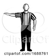 Basketball Referee Visible Count Hand Signal Retro Black And White