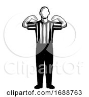 Poster, Art Print Of Basketball Referee 30-Second Time-Out Hand Signal Retro Black And White