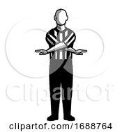 Basketball Referee No Score Hand Signal Retro Black And White