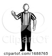 Poster, Art Print Of Basketball Referee 5-Second Violation Hand Signal Retro Black And White