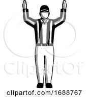 American Football Official Touchdown Sign Hand Signal Retro