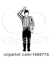 Ice Hockey Official Or Referee Hand Signal Drawing Black And White