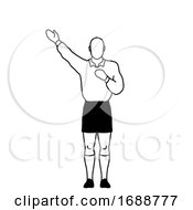 Rugby Referee Penalty Kick Hand Signal Drawing Retro