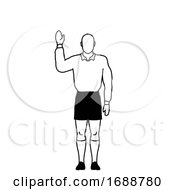 Rugby Referee Penalty Free Kick Hand Signal Drawing Retro