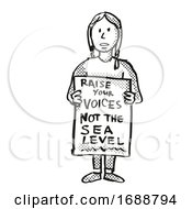 Poster, Art Print Of Young Student Protesting Raise Your Voices Not The Sea Level On Climate Change Drawing