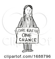 Young Student Protesting One Earth One Chance On Climate Change Drawing