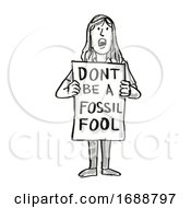 Young Student Protesting Dont Be A Fossil Fool On Climate Change Drawing