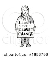 Young Student Protesting Stop Climate Change On Climate Change Drawing