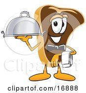 Clipart Picture Of A Meat Beef Steak Mascot Cartoon Character Serving A Dinner Platter While Waiting Tables