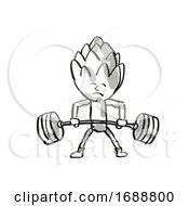 Artichoke Healthy Vegetable Lifting Barbell Cartoon Retro Drawing