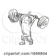 Red Chili Pepper Healthy Vegetable Lifting Barbell Cartoon Retro Drawing