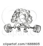 Lettuce Healthy Vegetable Lifting Barbell Cartoon Retro Drawing