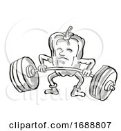 Bell Pepper Or Capsicum Healthy Vegetable Lifting Barbell Cartoon Retro Drawing