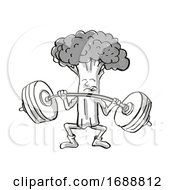Broccoli Healthy Vegetable Lifting Barbell Cartoon Retro Drawing