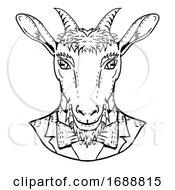 Goat Wearing Tuxedo And Tie Portrait Cartoon Retro Drawing