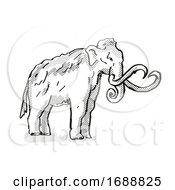 Columbia Mammoth Extinct North American Wildlife Cartoon Drawing