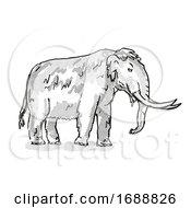 American Mastodon Extinct North American Wildlife Cartoon Drawing