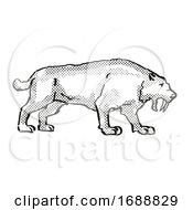 Smilidon Populator Extinct North American Wildlife Cartoon Drawing