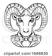 Ram Or Mountain Goat Wearing Tuxedo And Tie Portrait Cartoon Retro Drawing