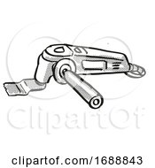 Poster, Art Print Of Multi Function Tool Power Tool Equipment Cartoon Retro Drawing