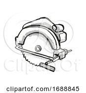 Circular Saw Power Tool Equipment Cartoon Retro Drawing