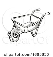 Poster, Art Print Of Wheel Borrow Or Wheelborrow Wagon Cartoon Retro Drawing