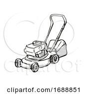Poster, Art Print Of Lawn Mower Power Tool Equipment Cartoon Retro Drawing