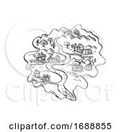 Island With River And Houses Vintage Fantasy Map Cartoon Retro Drawing