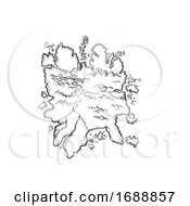 Poster, Art Print Of Island With Mountains And Rivers Vintage Fantasy Map Cartoon Retro Drawing