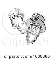 Irish Leprechaun Vaping Puffing Smoke Tattoo Drawing