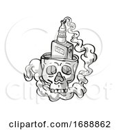 Human Vaper Skull Smoking Tattoo Drawing