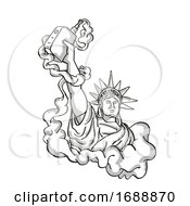 Statue Of Liberty Holding Vape Electronic Cigarette Tattoo