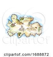 Poster, Art Print Of Medieval Fantasy Map Of An Island Drawing Retro