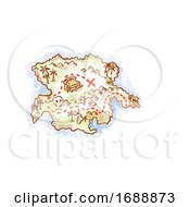Poster, Art Print Of Treasure Map Of An Island Showing X Mark The Spot Drawing Retro