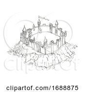 Castle Or Fortress On Island Vintage Fantasy Map Cartoon Retro Drawing