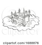 Poster, Art Print Of Castle Or Fortress On Island Vintage Fantasy Map Cartoon Retro Drawing