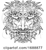 Green Man With Foliate Head Portrait Cartoon Retro Drawing