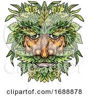 Poster, Art Print Of Green Man With Foliate Head Portrait Cartoon Retro Drawing