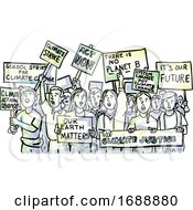 Poster, Art Print Of Young Students Protesting On Climate Change Watercolor