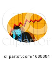 Depressed Businessman Upward Line Graph Oval Retro