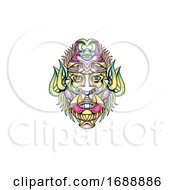 Three Eyed Goblin Front View Portrait Cartoon Retro Drawing