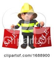 3d Firefighter In Firemans Uniform Holding Sale Bags 3d Illustration