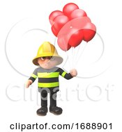 3d Firefighter In Firemans Uniform With Red Balloons 3d Illustration