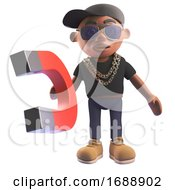 3d Black Hiphop Rapper Emcee In Baseball Cap Holding A Magnet 3d Illustration