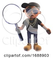 3d Black Hiphop Emcee Rapper In Baseball Cap Holding A Magnifying Glass 3d Illustration