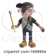 3d Black Hiphop Emcee Rap Artist In Baseball Cap Holding An Unlit Match 3d Illustration