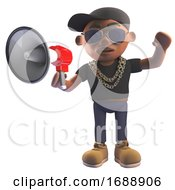 3d Black Hiphop Rapper Emcee In Baseball Cap Talking Through A Megaphone Loudhailer 3d Illustration