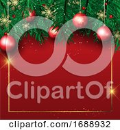 Christmas Background With Pine Tree Branches And Hanging Baubles