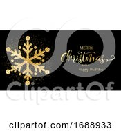 Christmas Banner With Glitter Snowflake