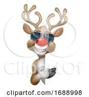 Christmas Reindeer Cartoon Deer In Sunglasses Sign